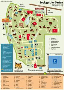 Lageplan für das Pusteblume-Kinderfest im Zoologischen Garten Magdeburg